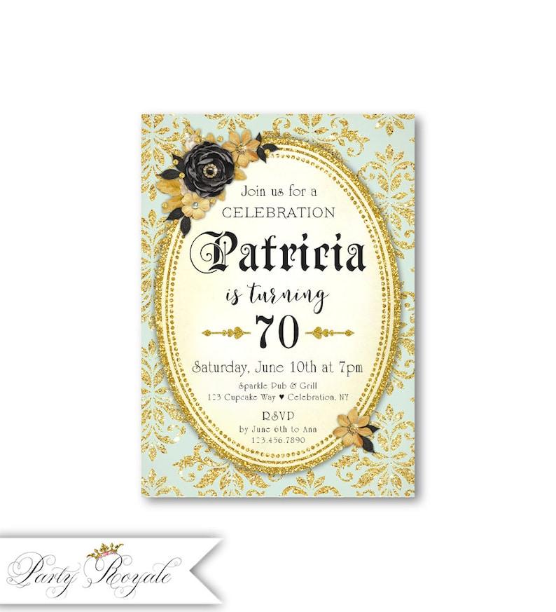 Edad Cumpleaños DamascoFiesta O Las MujeresNegro Brillo Y 70 Cualquier De Dorado Para SorpresaCena Invitaciones CumpleañosAños CdxshtQrB