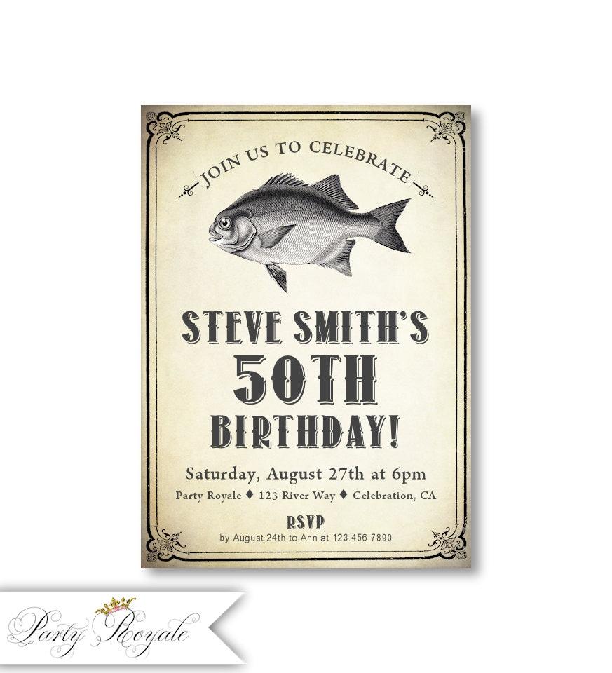 50 invitaciones de cumpleaños para hombres / tema de peces de | Etsy