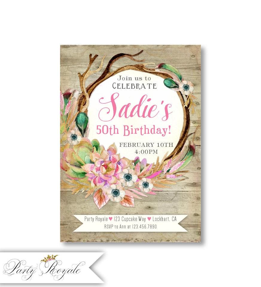 Rustic 50th Birthday Invitations Adult Birthday invitations | Etsy