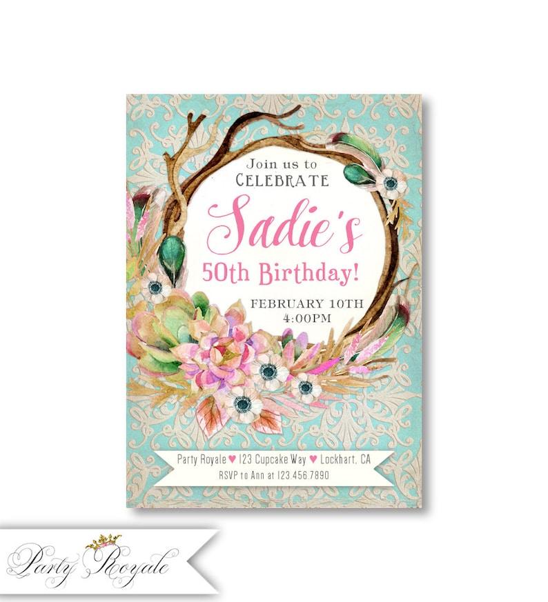 Boho 50th Birthday Invitations For Her Women S 50th Etsy