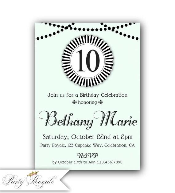 girls 10th birthday invitation 11th birthday invitation 12th etsy