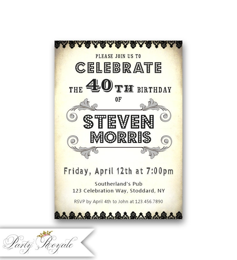 Black And White 40th Birthday Invitations For Adults