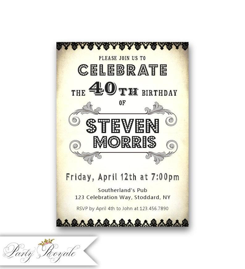 Blanco y negro 40 invitaciones de cumpleaños para adultos hito Etsy