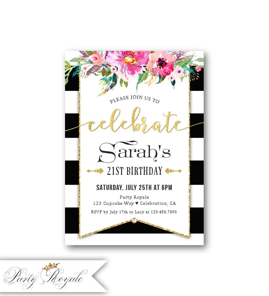 21st Birthday Invitations Black and White Birthday Party | Etsy