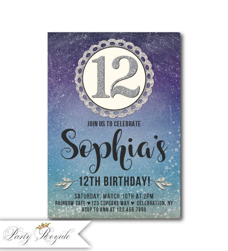 Tween 12th Birthday Invitation For A Girl Girls Printable Or Printed Blue And Purple