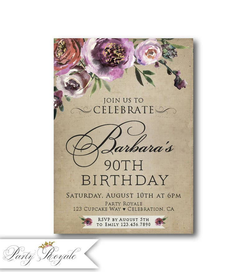 Womens Elegant 90th Birthday Invitations