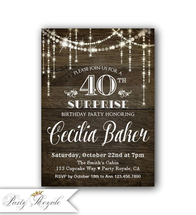 Surprise 40th Birthday Invitation For Her Party