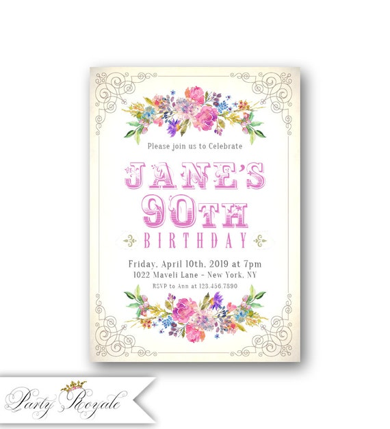 Womens 90th birthday invitations vintage garden party etsy image 0 filmwisefo