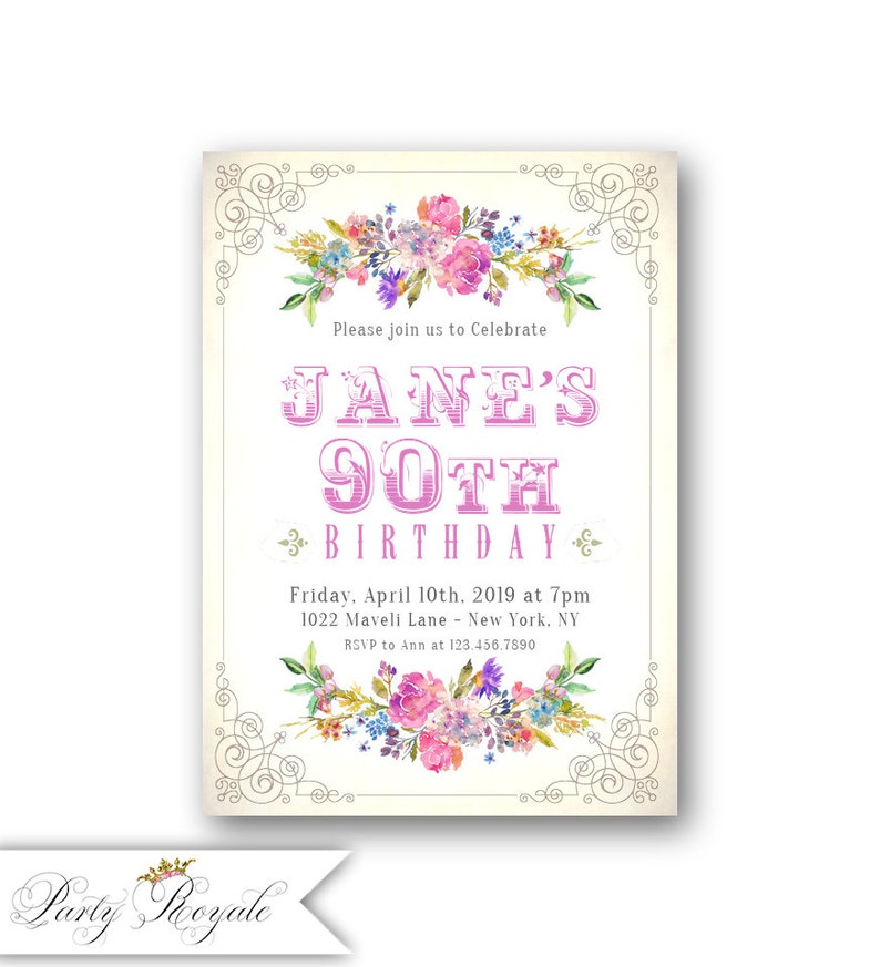 Womens 90th Birthday Invitations Vintage Garden Party