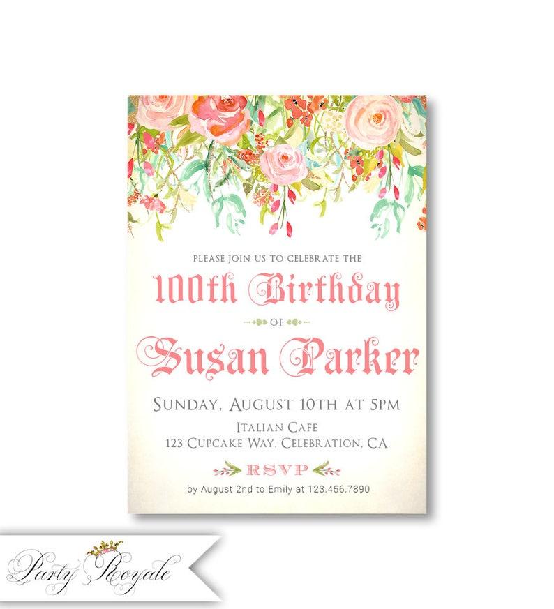 Womens Birthday Invitations 100th Or Any Age