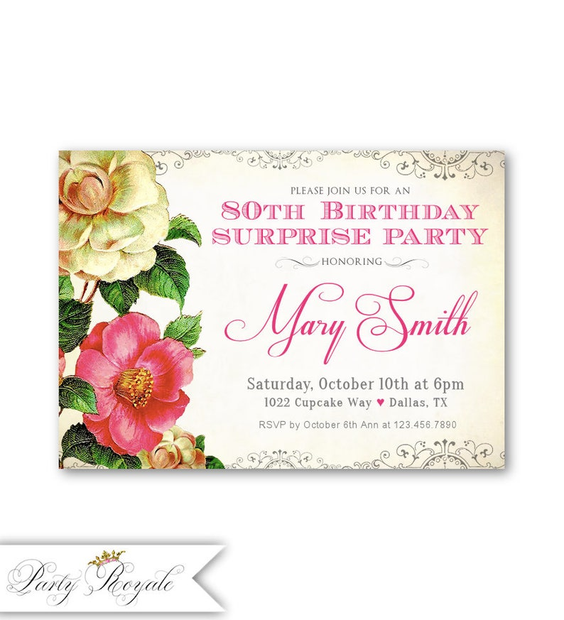 80th Birthday Invitations Surprise Party