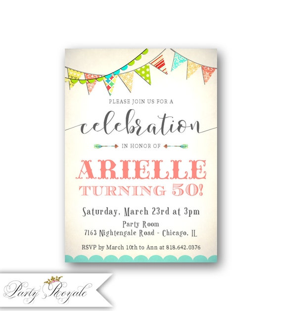 Whimsical 50th Birthday Invitations For Her Colorful Party Etsy