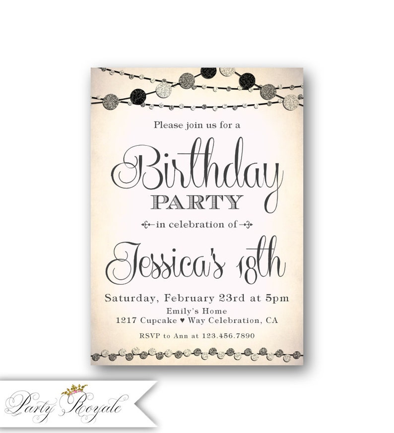 Teen Girls 18th Birthday Invitations Pink Black And