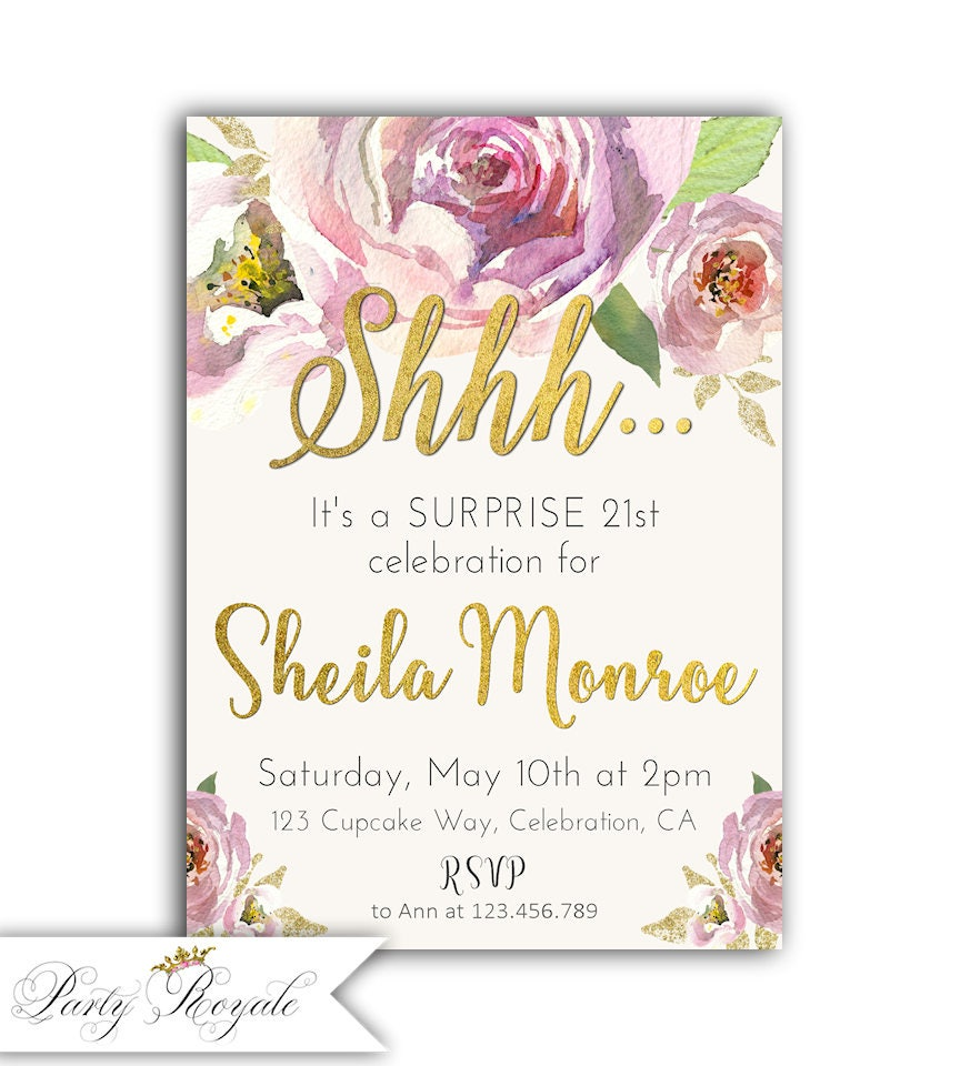 21st Birthday Invitations For Girls Surprise Party 21st Etsy