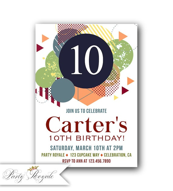 Boys 10th Birthday Invitations Party Invites