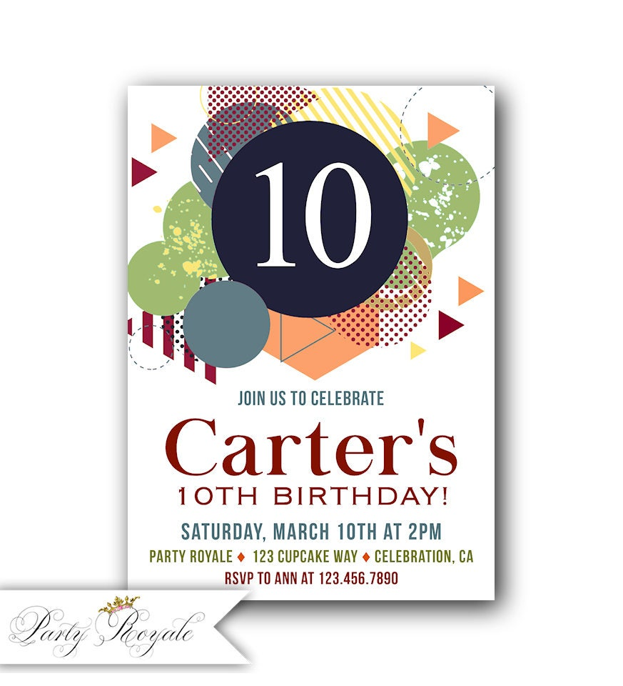 Boys 10th Birthday Invitations 10th Birthday Party Invites | Etsy