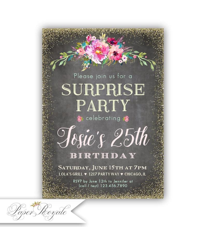 25th Surprise Birthday Party Invitations Milestone