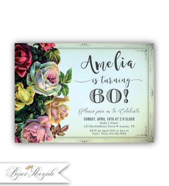Invitaciones De Cumpleaños 60 Vintage Rosas 60 Cumple Invita Sesenta Cualquier Edad Sexagésimo Cumpleaños Imprimibles 60 Invitaciones De