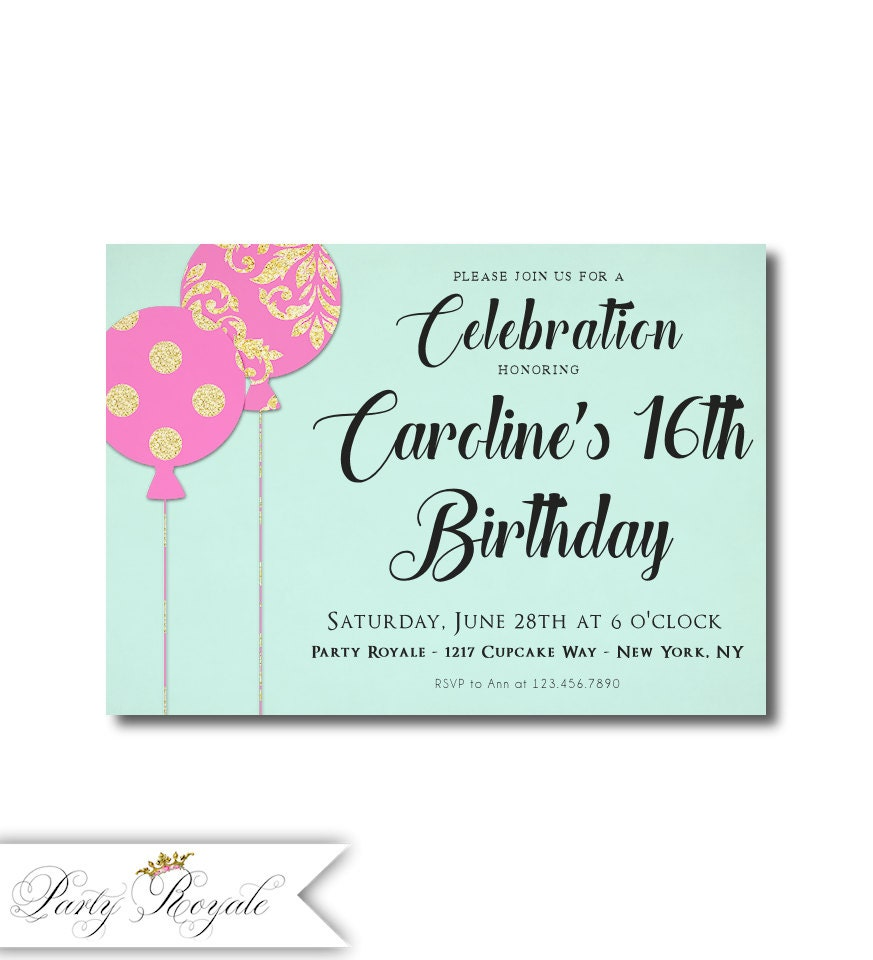 16th Birthday Invitations Pink Turquoise Gold Black 18th
