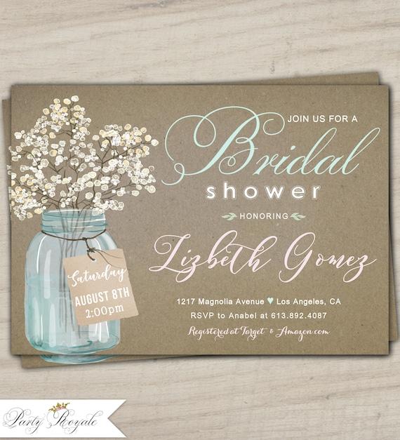 05215b3ec720 Mason Jar Bridal Shower Invitations Kraft Bridal Shower