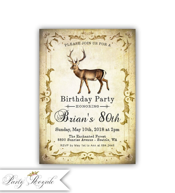 Deer birthday party invitations adult birthday party etsy image 0 filmwisefo