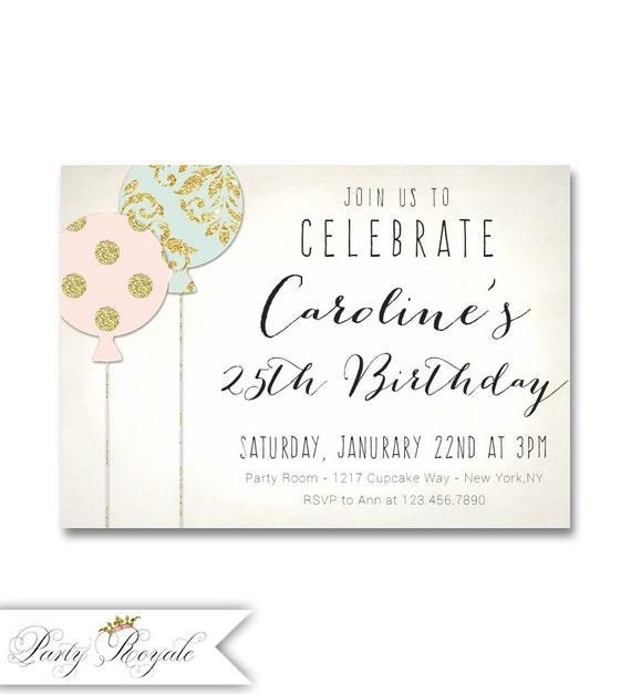 25th Birthday Invitation Adult Birthday Invitation Pastel Etsy