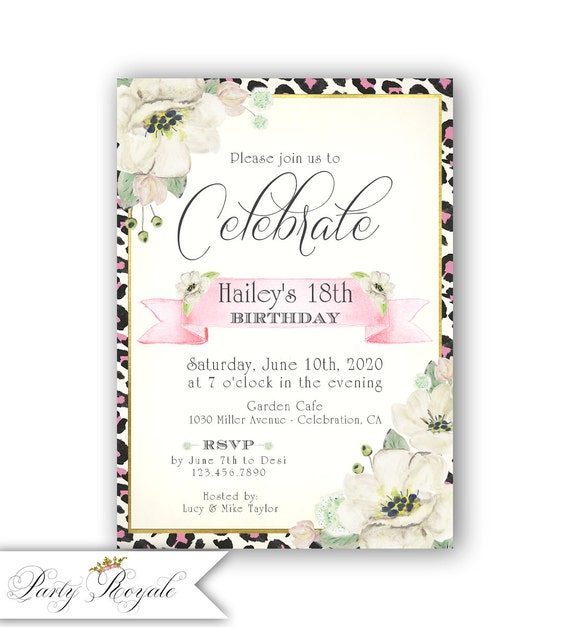 Leopard Print Birthday Invitations For Teen Girls 18th Etsy