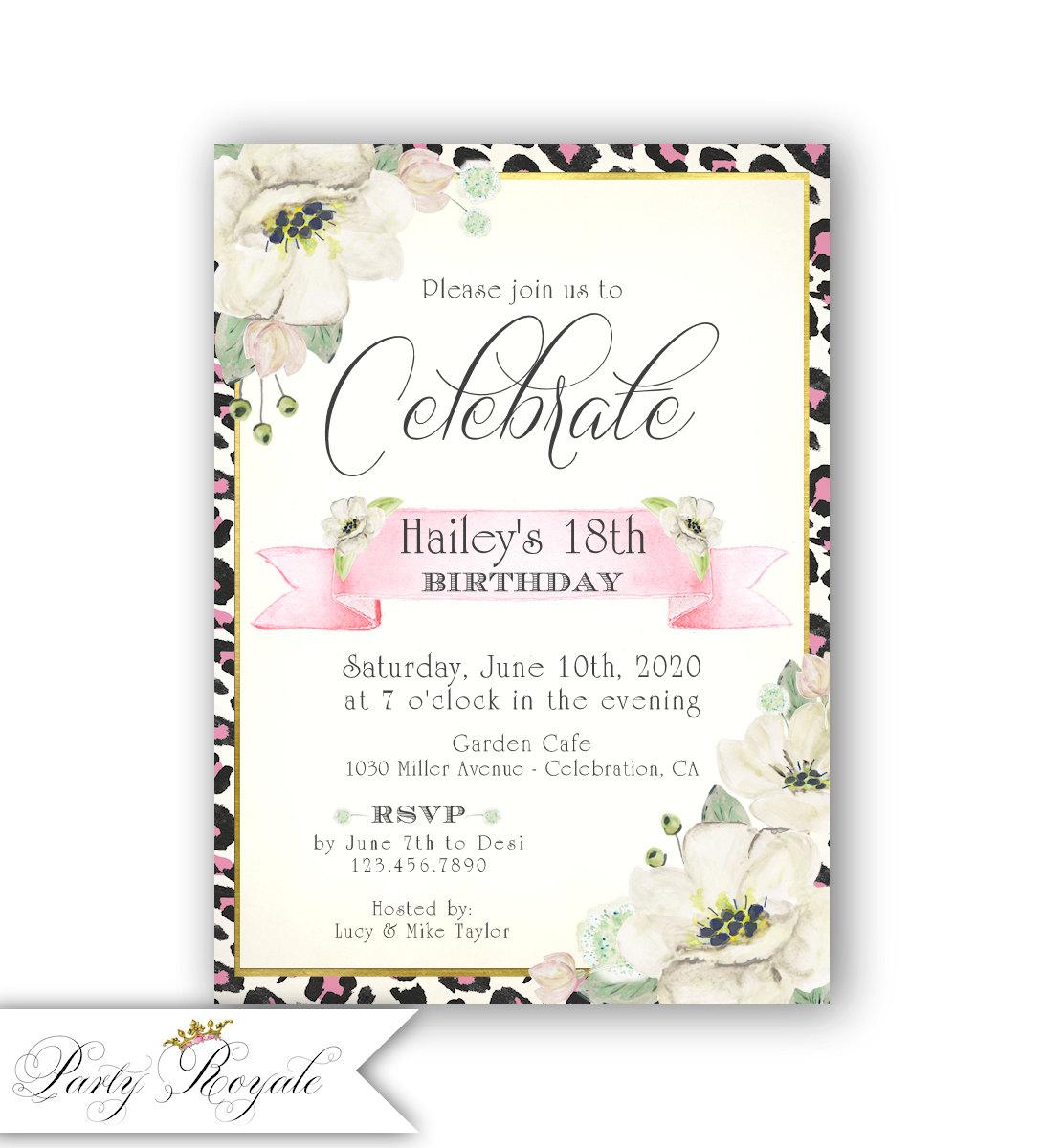 Leopard Print Birthday Invitations for Teen Girls 18th   Etsy