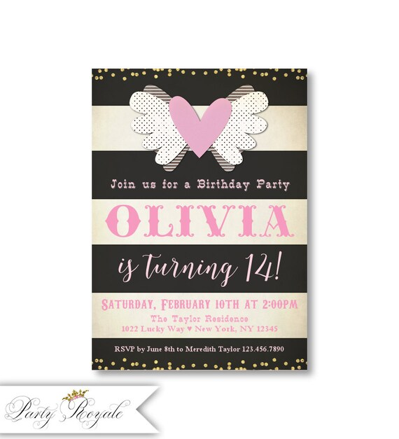 Pink and black birthday invitations 14th birthday 13th etsy image 0 filmwisefo