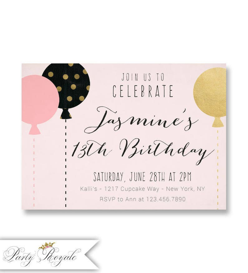 Pink And Gold 13th Birthday Invitations For Teenage Girls