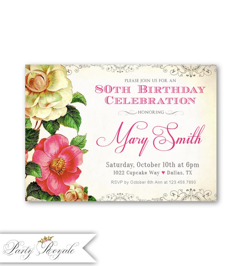 Vintage 80th Birthday Invitations Womens