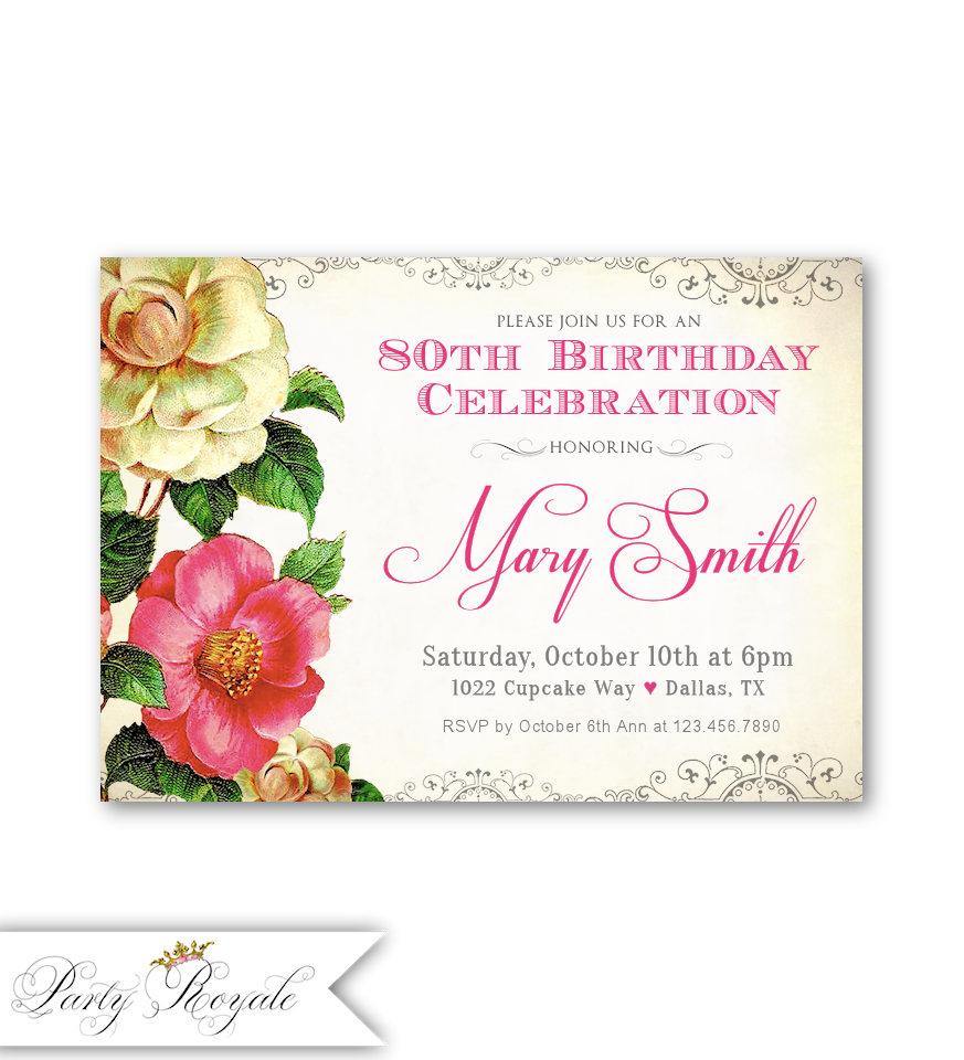 Vintage 80th Birthday Invitations Women\'s Birthday   Etsy