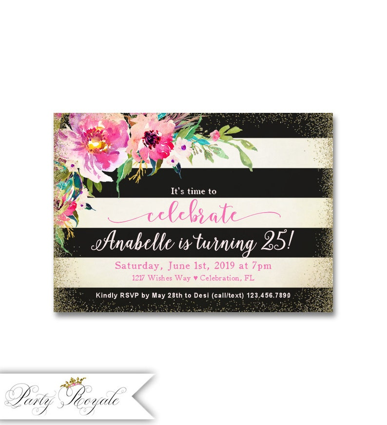 Black And White Womens Birthday Invitations 25th Party Invites Milestone For Her Any Age Faux Gold Glitter