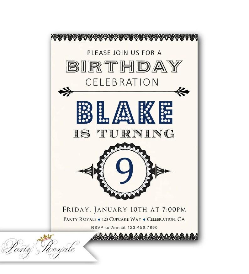 9th Birthday Invitation Boy Party Invitations For