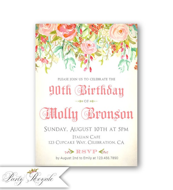 90th Birthday Invitations Invitaitons For Her