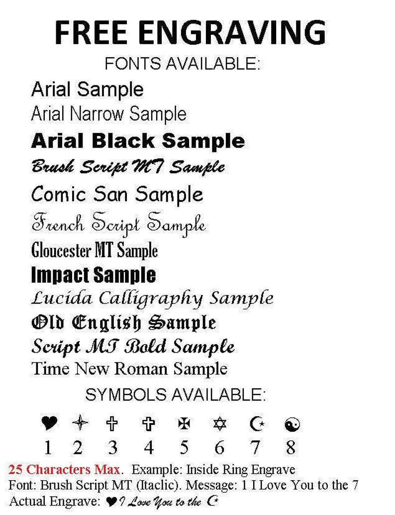 Wedding Ring Engraving Fonts