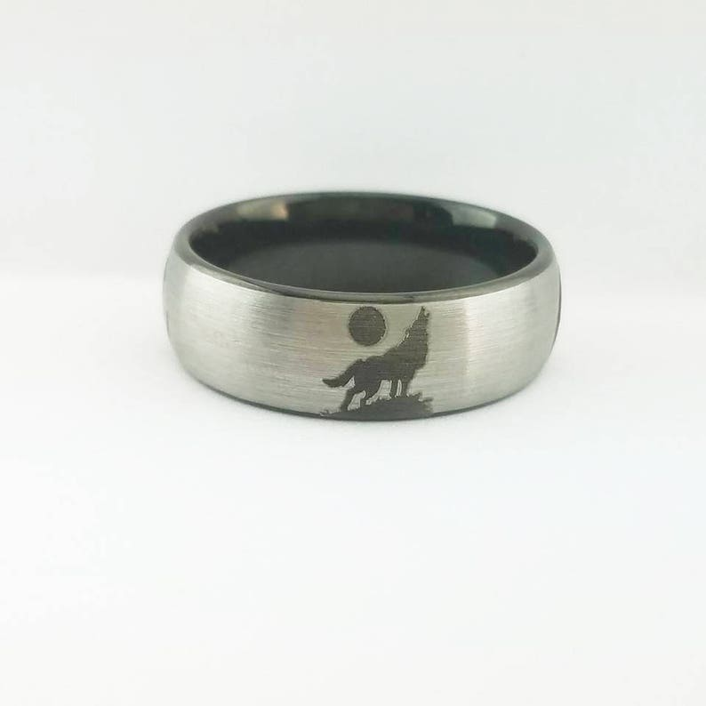 Anniversary Ring Wolf Wedding Ring Tungsten Wedding Band Wedding Ring Tungsten Ring For Mens Wolf Ring Twilight Wedding Band