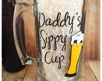 Daddy's Sippy Cup, Beer Mug For Dad, Dad Gift, Dad Christmas Gift, Beer Glass For Dad, Funny Beer Mug, Funny Beer Mug For Dad