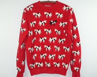 1980s Crazy All Over Print Cow Moo Vintage Red Sweatshirt - Small / Medium
