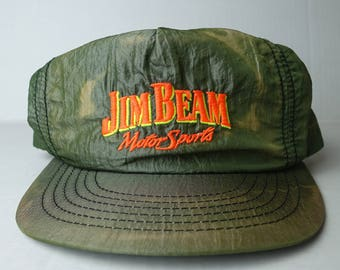 269a881a738 Vintage 1980s 1990s Jim Beam Whiskey Motorsports Racing Alcohol Advertising  Nylon Snapback Hat