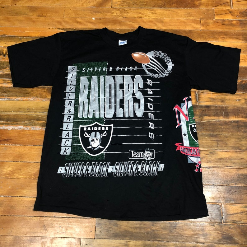 ddc12d64 1990s Los Angeles LA Raiders 1992 All Over Print Doublesided NFL Football  Bo Jackson Silver and Black Vintage Tee T Shirt - Large