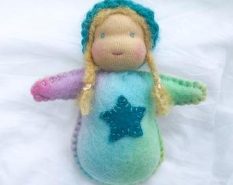 SALE! Small Doll Felt Friend - Blue Star