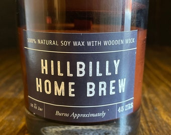 Hillbilly Home Brew Soy Wax Coconut Wax  Candle with wood wick all Natural 9oz