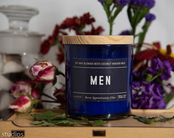 Men Soy Wax Coconut Wax  Candle with wood wick all Natural 9oz
