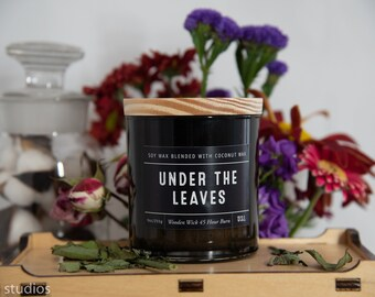 Under The Leaves Soy Wax Coconut Wax  Candle with wood wick all Natural 9oz