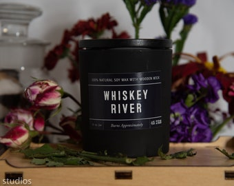 Whiskey River Soy Wax Coconut Wax  Candle with wood wick all Natural 9oz
