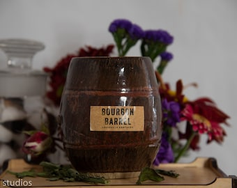 Bourbon Barrel Soy Wax Cocunut Wax  Candle with wood wick in a Clay Handturn Barrel Natural 16oz
