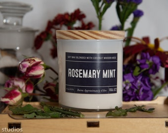 Rosemary Mint Soy Wax Coconut Wax  Candle with wood wick all Natural 9oz