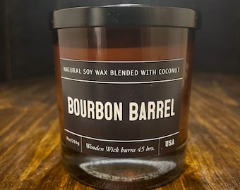 Bourbon Barrel Soy Wax Coconut Wax  Candle with wood wick all Natural 9oz