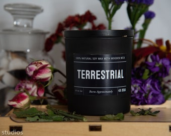 Terrestrial Soy Wax Coconut Wax  Candle with wood wick all Natural 9oz